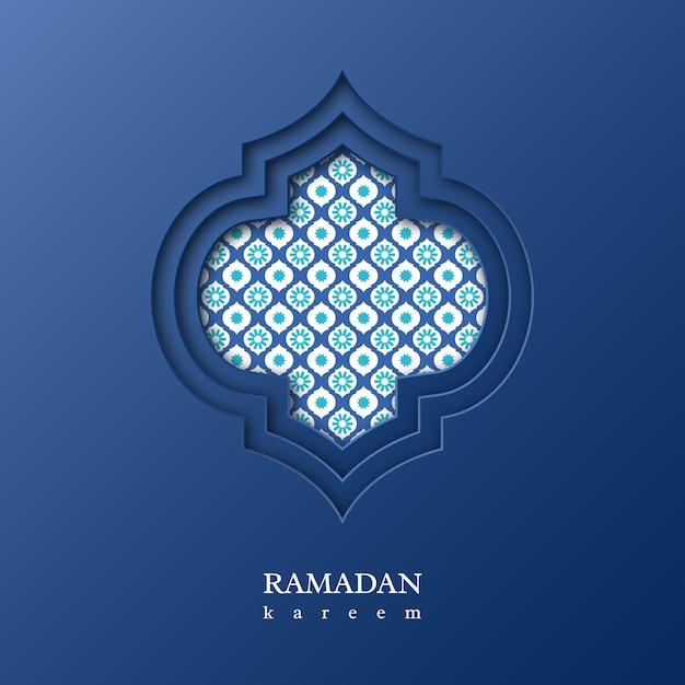 Ramadan kareem sfondo con motivo decorativo Vettore Premium
