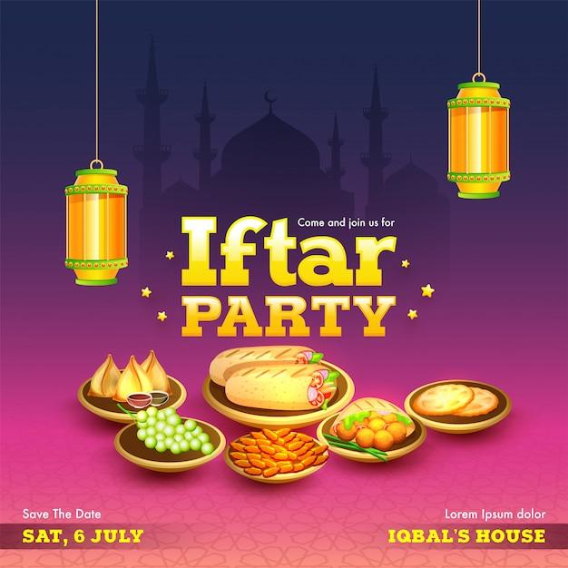 Ramadan mubarak, iftar party concept. Vettore Premium