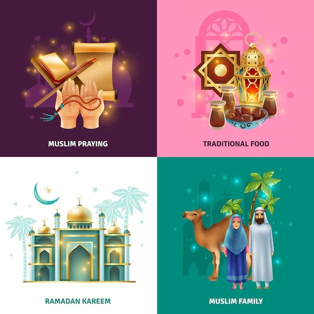 Ramadan traditions concept 4 icons square Vettore gratuito