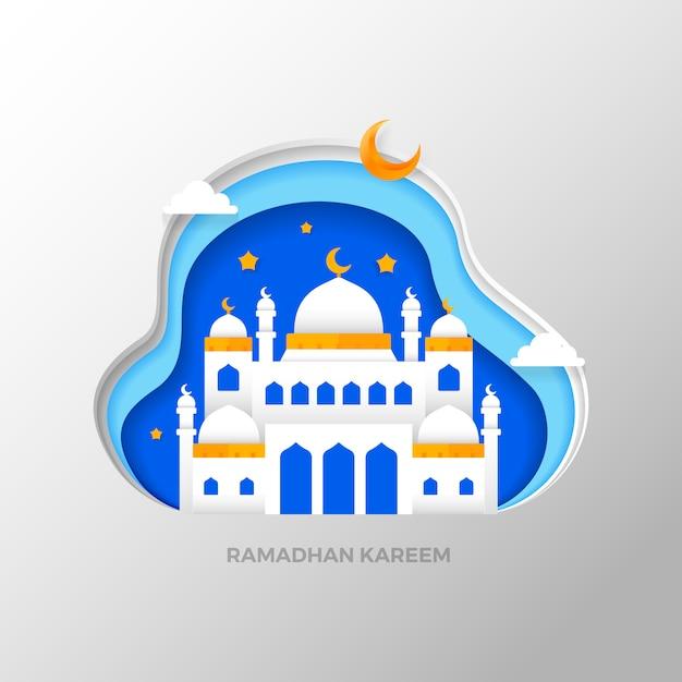 Ramadhan kareem che saluta lo stile di arte di carta islamica Vettore Premium