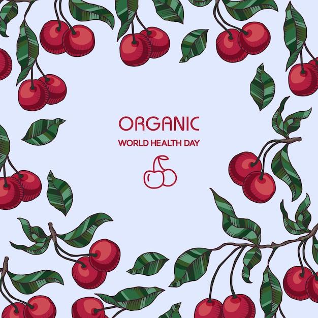 Ramo di ciliegio disegnato a mano con sfondo di ciliegie e foglie Vettore gratuito