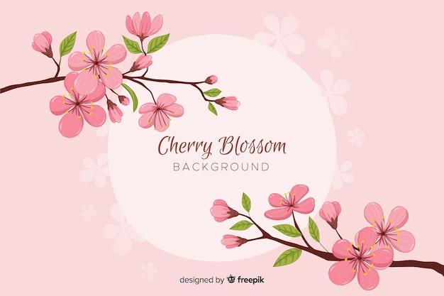 Ramo di fiori di ciliegio disegnato a mano Vettore gratuito