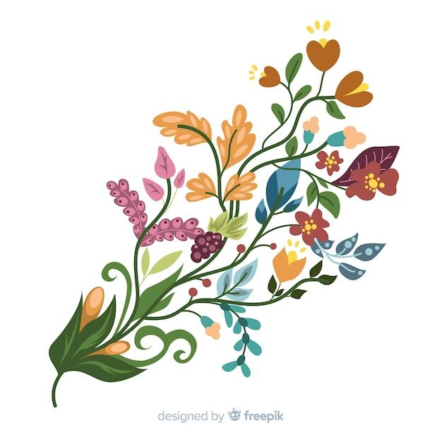 Ramo floreale colorato in design piatto Vettore gratuito