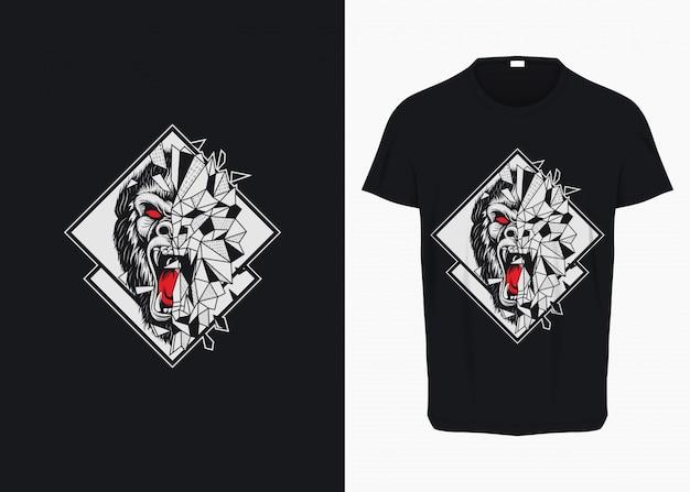 Rampage gorilla breaking glass illustration per t-shirt Vettore Premium