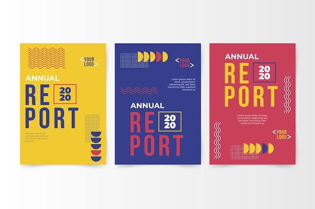 Rapporto annuale astratto colorato con memphis Vettore gratuito