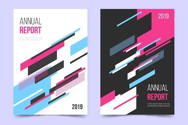 Rapporto annuale con modello di linee colorate geometriche Vettore gratuito