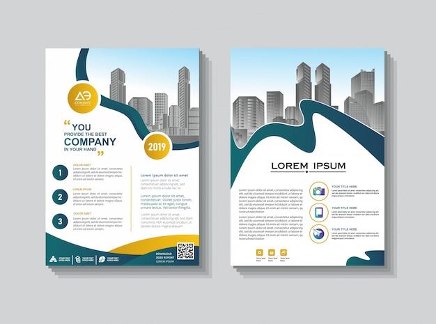Rapporto annuale di progettazione della copertura della disposizione del modello dell'opuscolo Vettore Premium