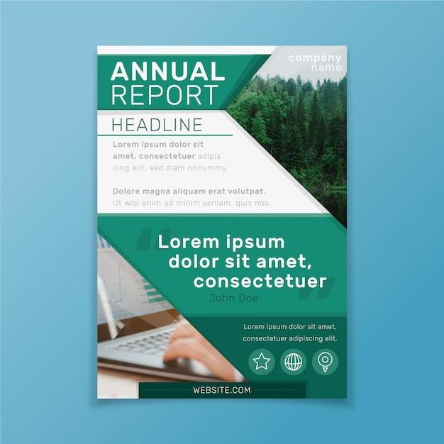 Rapporto annuale modello astratto con foto Vettore gratuito