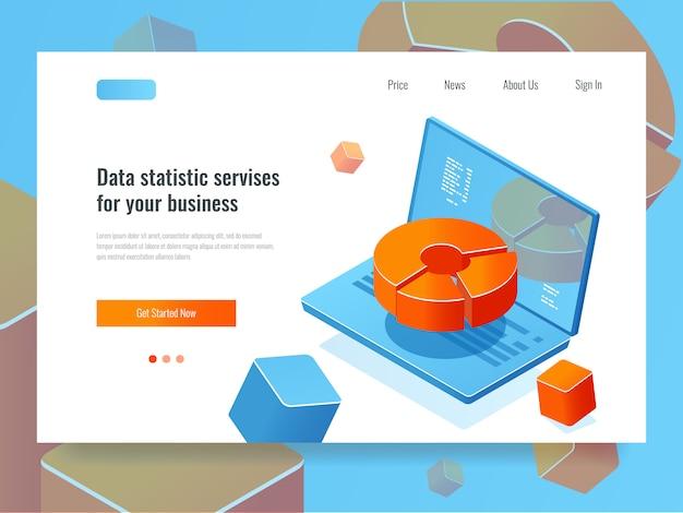 Rapporto dati, analisi e analisi di business, laptop con diagramma a cerchio, programmazione Vettore gratuito