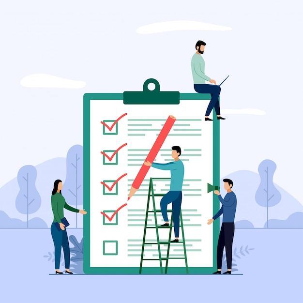 Rapporto di indagine, lista di controllo, questionario, illustrazione di vettore di concetto di affari Vettore Premium