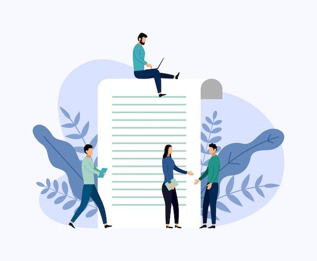 Rapporto di indagine online, questionario, illustrazione di vettore di concetto di affari Vettore Premium