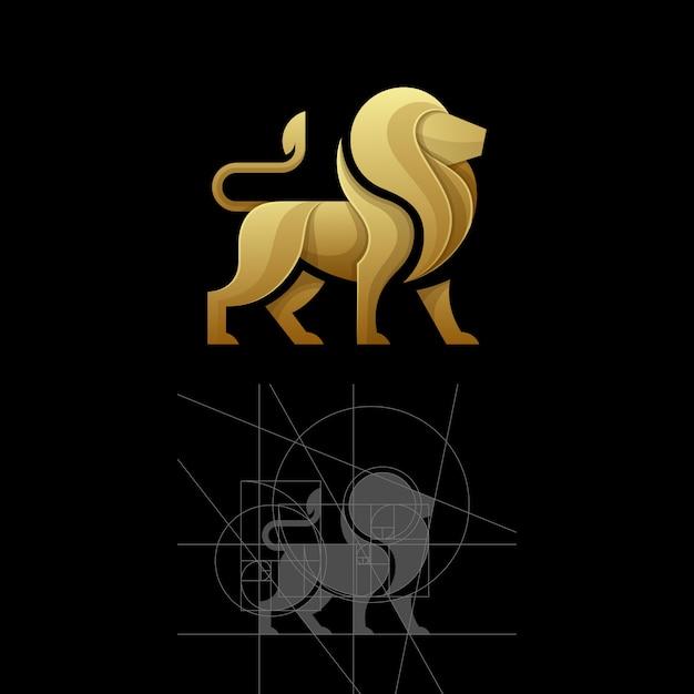 Rapporto dorato un modello dell'illustrazione di vettore del leone Vettore Premium
