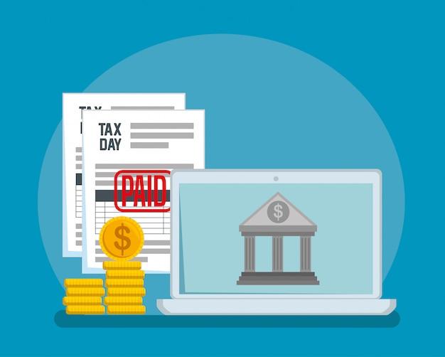 Rapporto fiscale di servizio con monete e banca Vettore gratuito