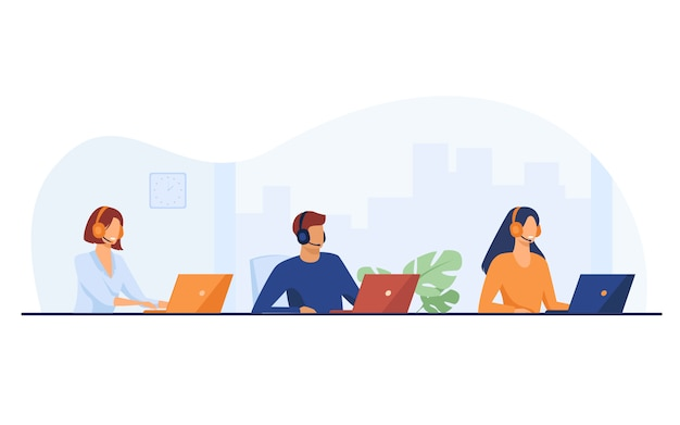 Rappresentanti dell'assistenza clienti che lavorano nel call center Vettore gratuito