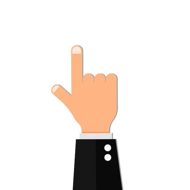 Rappresentazione della direzione del pollice di vettore della rappresentazione del punto della mano del dito Vettore Premium