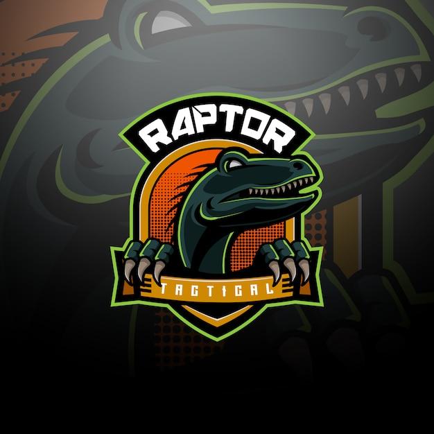 Raptor logo tattico team esport Vettore Premium
