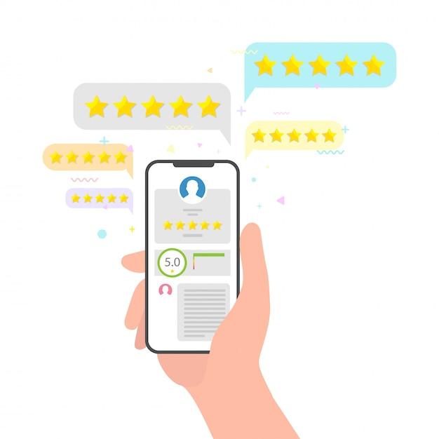 Rassegna di feedback di valutazione del telefono e delle stelle della tenuta della mano. perfetto concetto di recensione a cinque stelle. valutazione della valutazione tramite cellulare concetto di social media di opinione degli utenti Vettore Premium