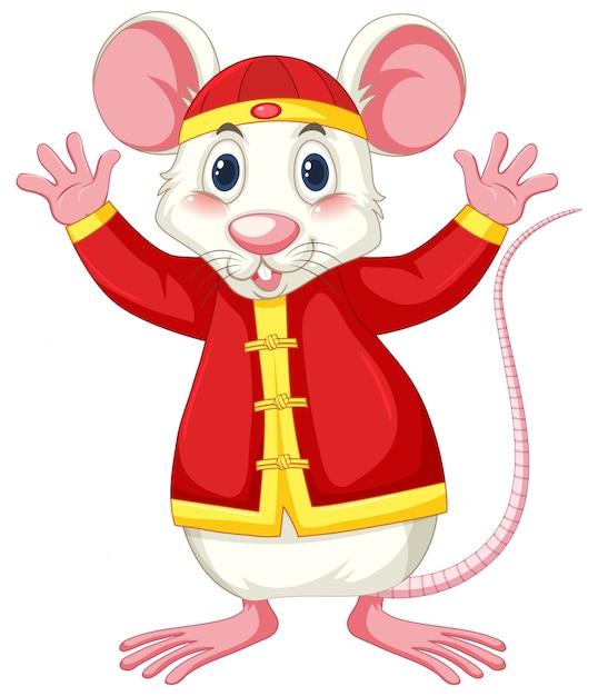 Ratto bianco in costume cinese Vettore gratuito