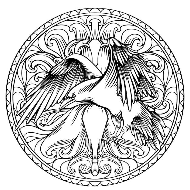 Raven libro da colorare per adulti, disegno lineare in un cerchio Vettore Premium