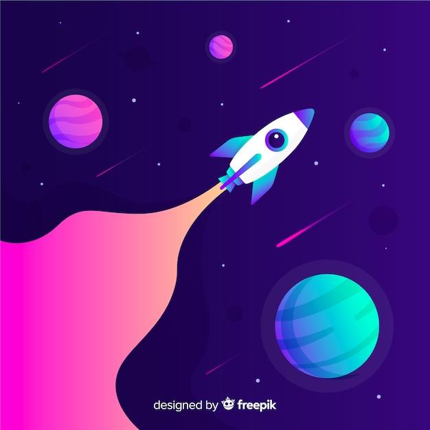 Razzo che viaggia attraverso lo sfondo colorato gradiente dello spazio Vettore gratuito