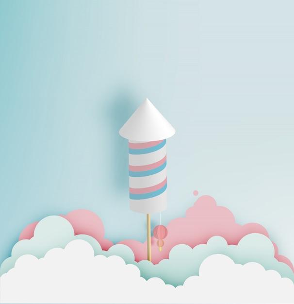 Razzo d'artificio con sfondo di tono pastello in arte cartacea Vettore Premium