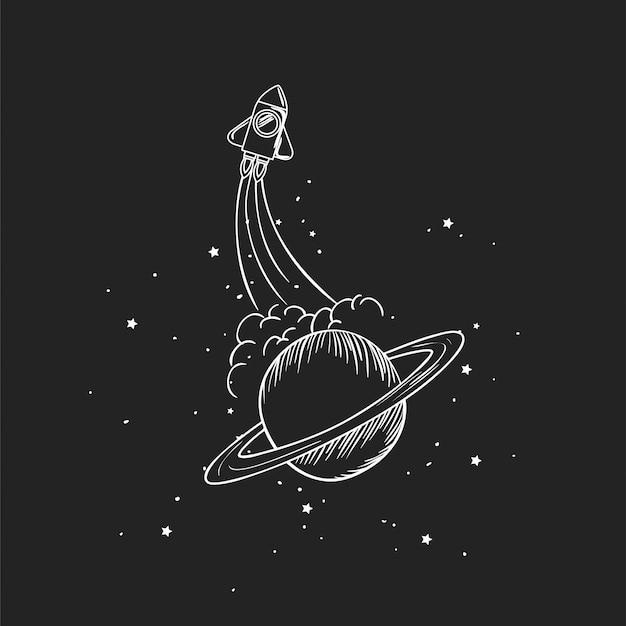 Razzo e pianeta disegnano Vettore gratuito