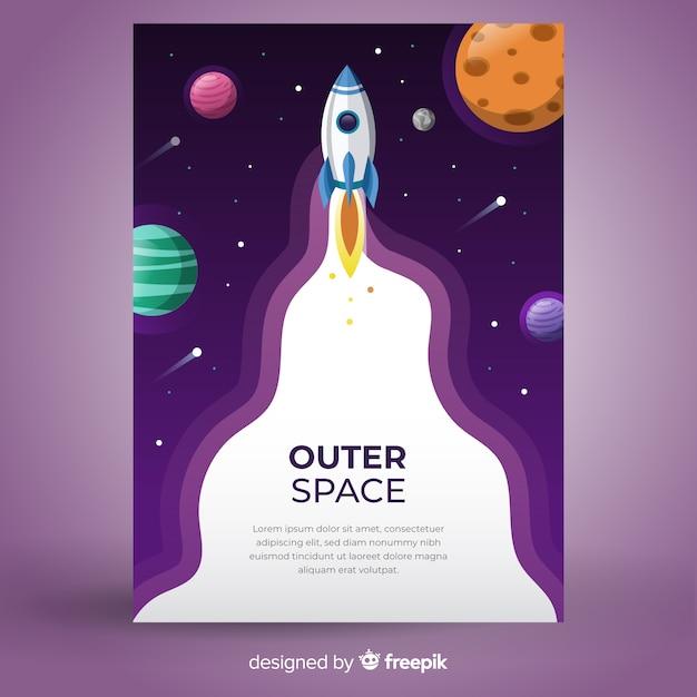 Razzo nel banner dello spazio esterno Vettore gratuito