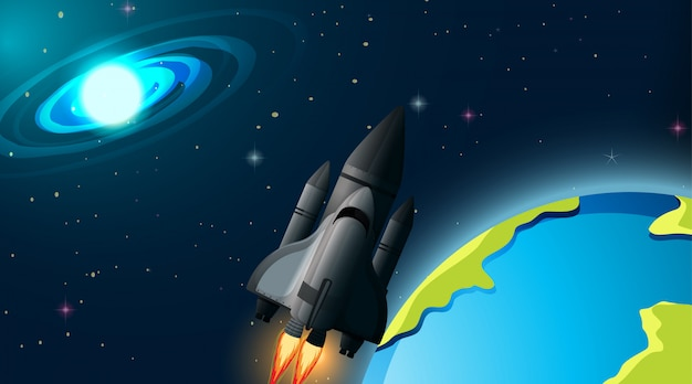 Razzo nella scena spaziale Vettore gratuito