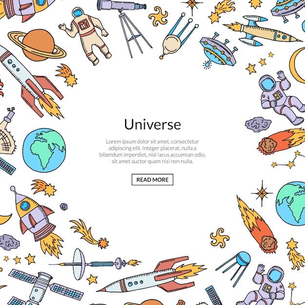 Razzo spaziale disegnato a mano con spazio di copia Vettore Premium