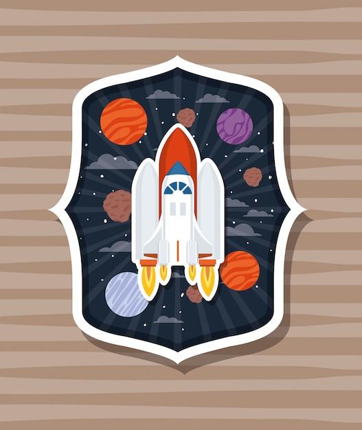 Razzo su etichetta con pianeti Vettore gratuito