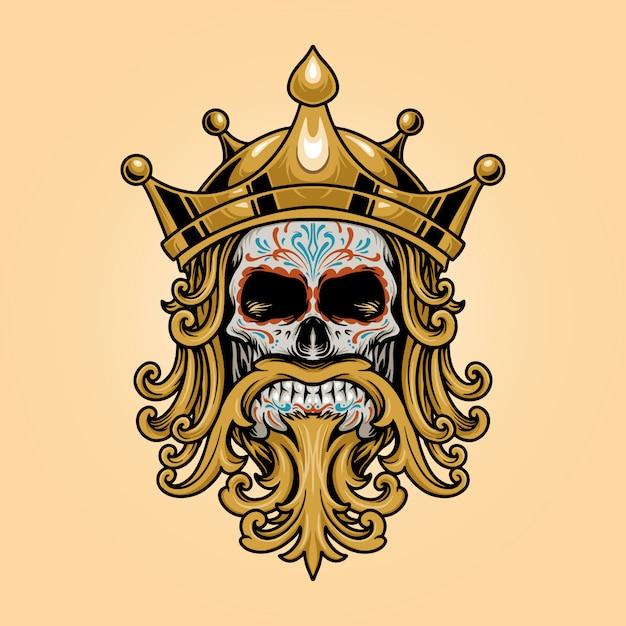Re crown skull dia de los muertos logo illustrazioni in oro Vettore Premium