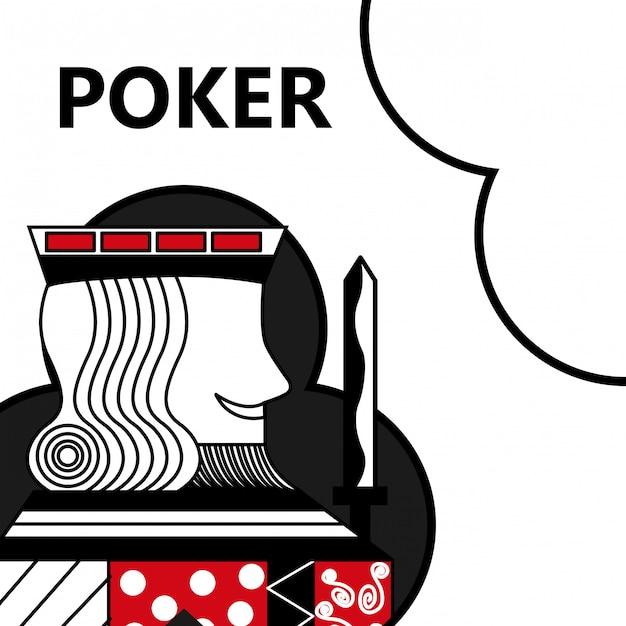 Re di gioco della carta da poker con la spada nei club del segno Vettore Premium