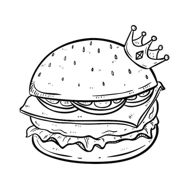 Re di hamburger con corona e un aspetto così delizioso con lo stile disegnato a mano Vettore Premium