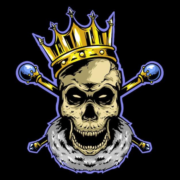 Re teschio con corona e logo bastone d'oro Vettore Premium
