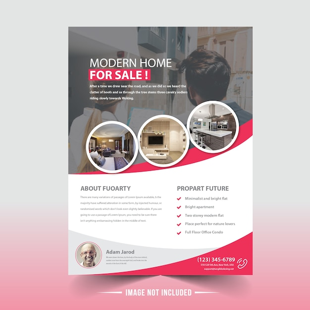 Real estate flyer design Vettore Premium