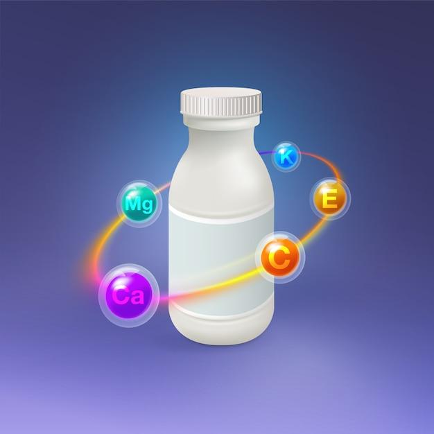 Realistica bottiglia di plastica vitaminica. Vettore Premium