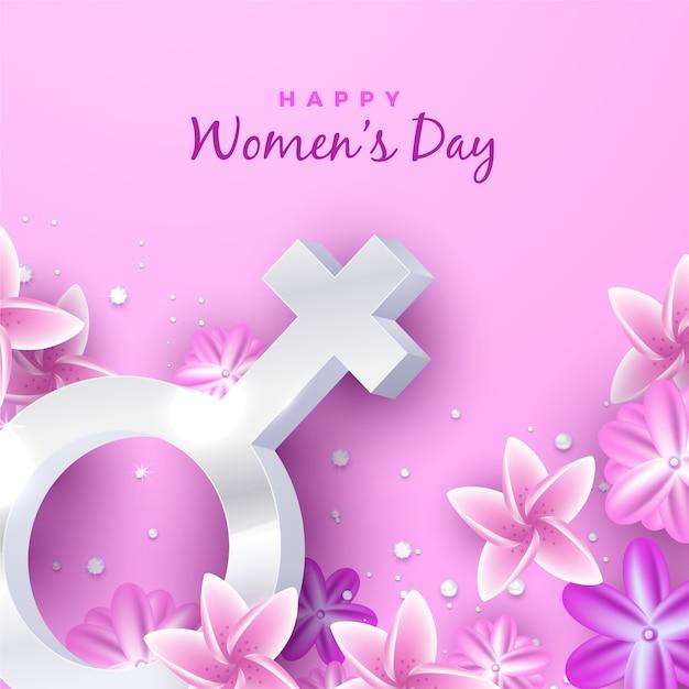 Realistica giornata della donna con fiori Vettore gratuito