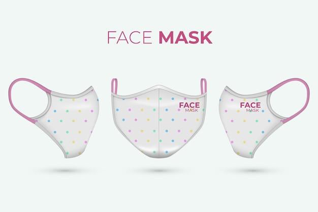 Realistica maschera facciale in tessuto con pois Vettore gratuito