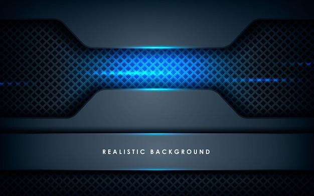 Realistica sovrapposizione di strati di texture con luci blu Vettore Premium