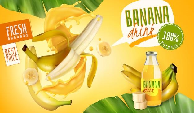 Realistici annunci di confezionamento di succo di banana con bolle di pensiero e testo modificabile con frutta e foglie Vettore gratuito
