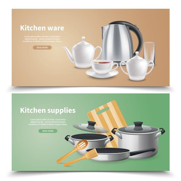 Realistici articoli da cucina e forniture culinarie banner orizzontali su beige e verde Vettore gratuito