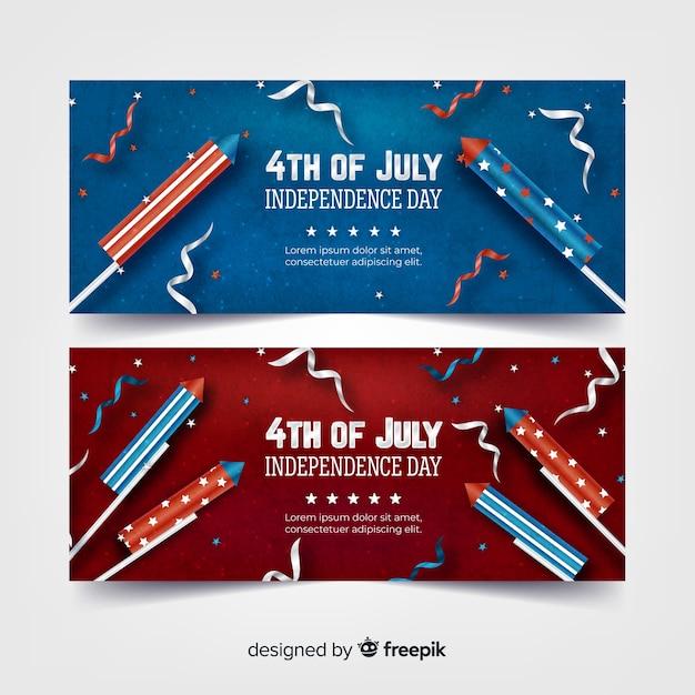Realistici banner del 4 luglio Vettore gratuito