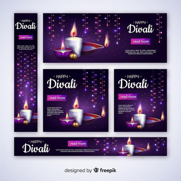 Realistici banner web diwali con candele Vettore gratuito