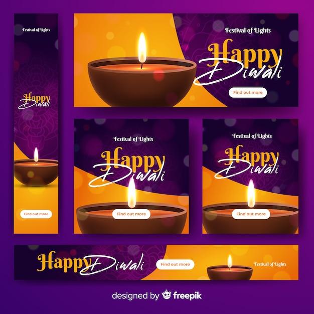 Realistici banner web diwali Vettore gratuito
