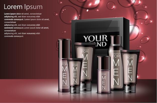 Realistici diversi tipi di cosmetici maschili con confezione Vettore Premium