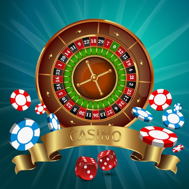 Realistici giochi da casinò online con nastro dorato e roulette nella parte superiore Vettore gratuito