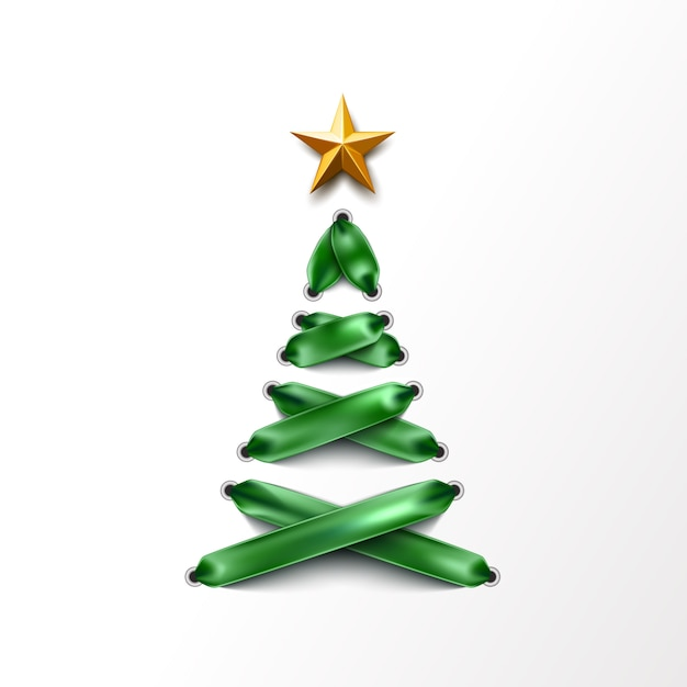 Realistico albero di natale stringato fatto di lacci verdi Vettore Premium