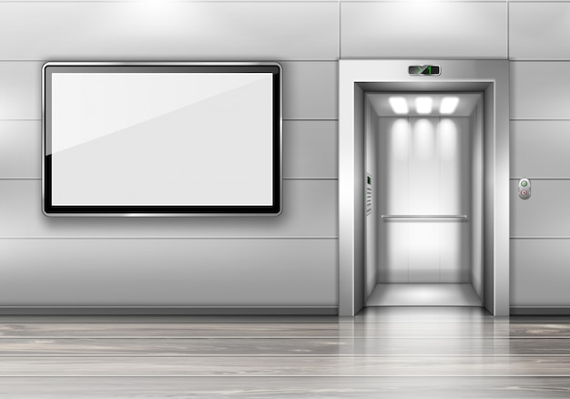 Realistico ascensore con porta aperta e schermo tv Vettore gratuito
