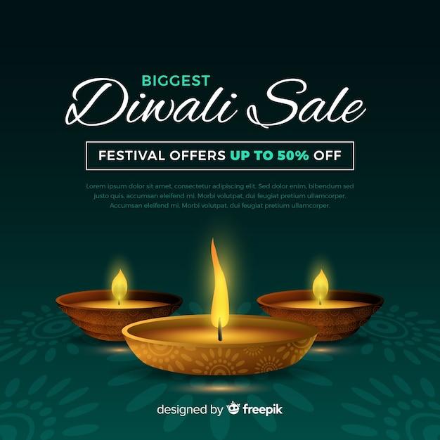 Realistico banner vendita vacanze diwali Vettore gratuito