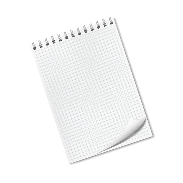Realistico blocco note rigato con spiga, angolo risvoltato Vettore Premium